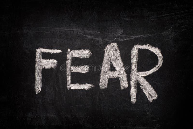 Crainte de Word sur un tableau noir image libre de droits