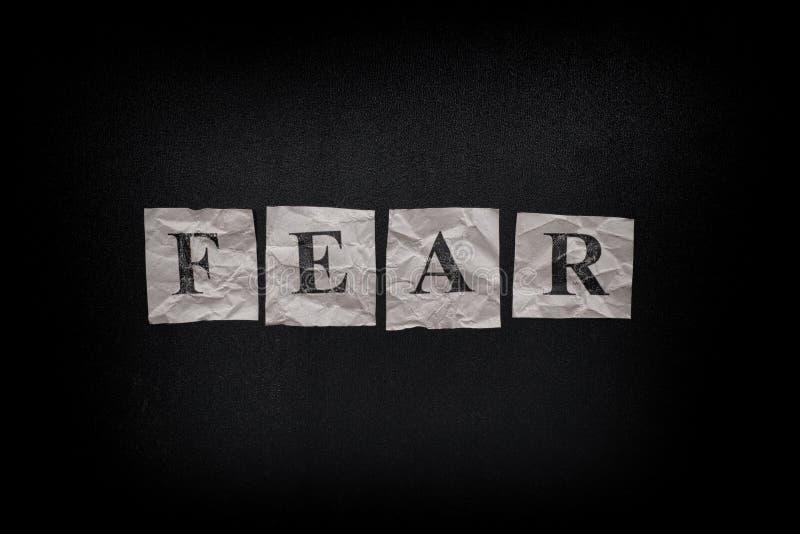 Crainte de Word sur un tableau noir photo stock