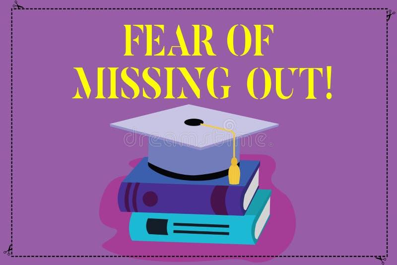 Crainte des textes d'écriture de manquer  La signification de concept effrayée de perdre quelque chose ou quelqu'un a souligné l' illustration de vecteur