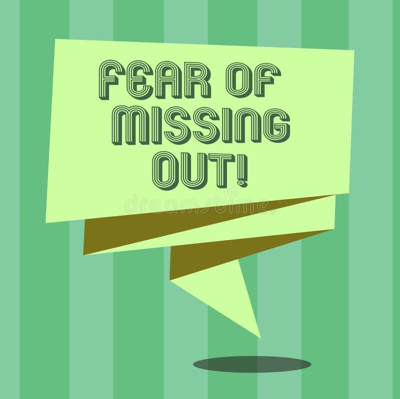 Crainte des textes d'écriture de manquer  La signification de concept effrayée de perdre quelque chose ou quelqu'un a soumis à un illustration stock