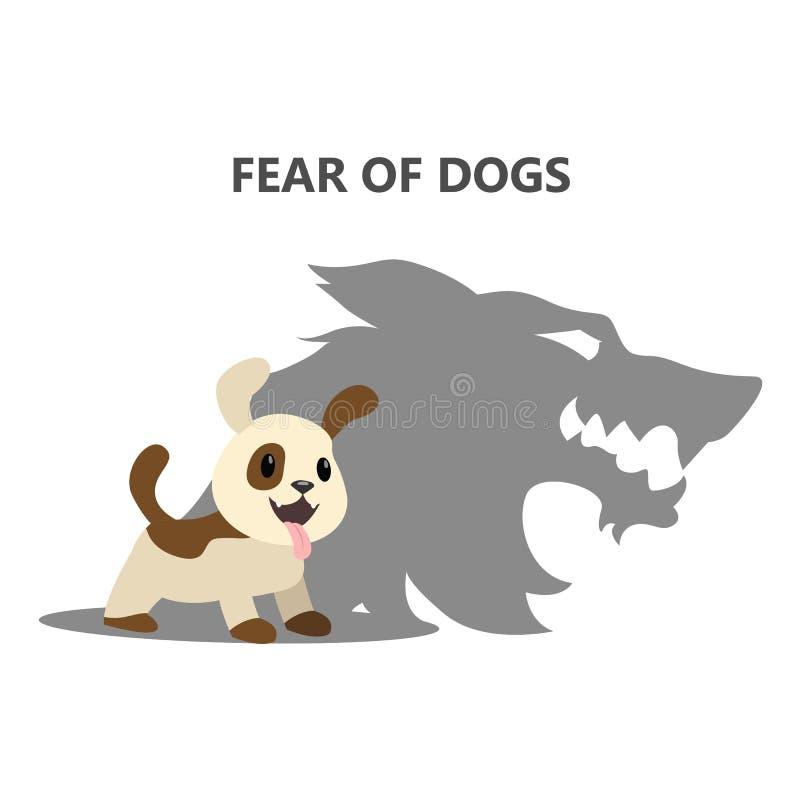 Crainte ou phobie des chiens Inquiétude sociale illustration stock