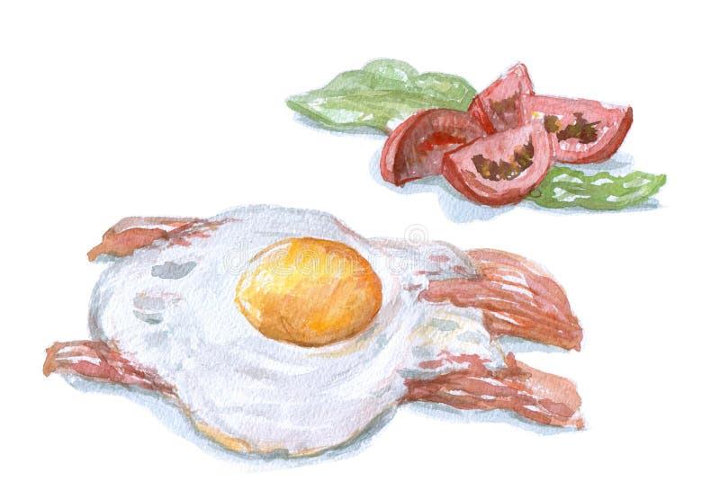 Crambled eggs, watecolor breakfast. Bacon salad tomates stock illustration