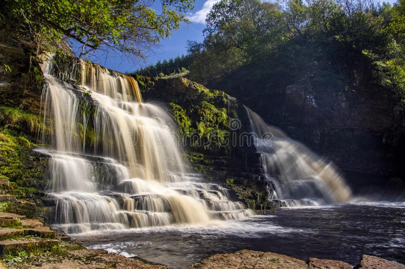 Crammel Linn Waterfall in Northumberland stock images