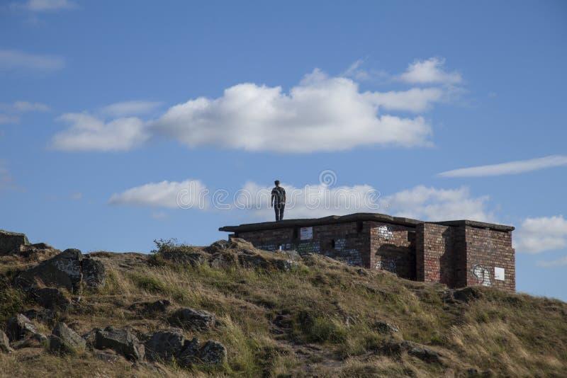Cramond Island, Edinburgh, Scotland, the UK - touching the skies. This image shows a view Cramond Island, Edinburgh, Scotland, the UK. It was taken on a sunny royalty free stock images