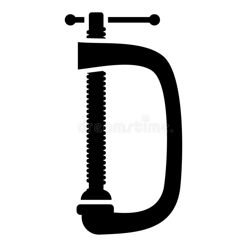 Cramp screw-clamp icon black color illustration flat style simple image vector illustration