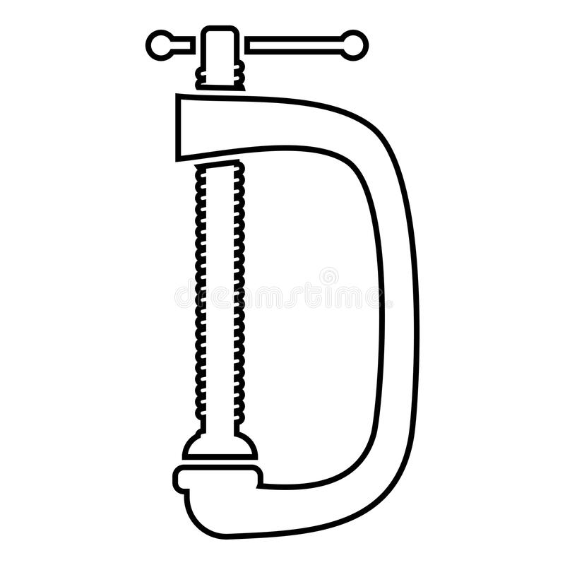 Cramp screw-clamp icon black color illustration flat style simple image royalty free illustration
