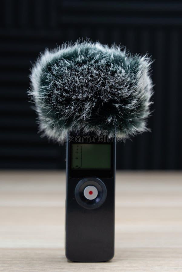 ?cran audio de vent d'enregistreur de microphone tenu dans la main de bourdonnement image libre de droits