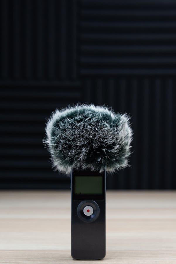 ?cran audio de vent d'enregistreur de microphone tenu dans la main de bourdonnement images libres de droits