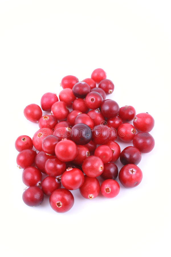 Cranberries. Pile of fresh cranberries isolated on white royalty free stock image