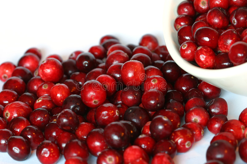 Cranberries. Bowl of cranberries spilling over stock images