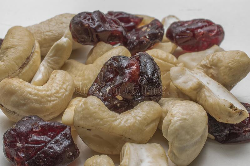 oCranberries and cashew nuts stock photos