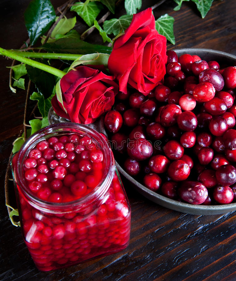 Cranberries and roses. Thanksgiving still-life with cranberries and red roses stock image