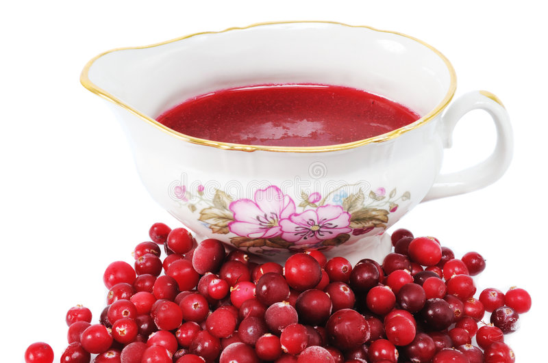 Cranberries and sauce stock photo