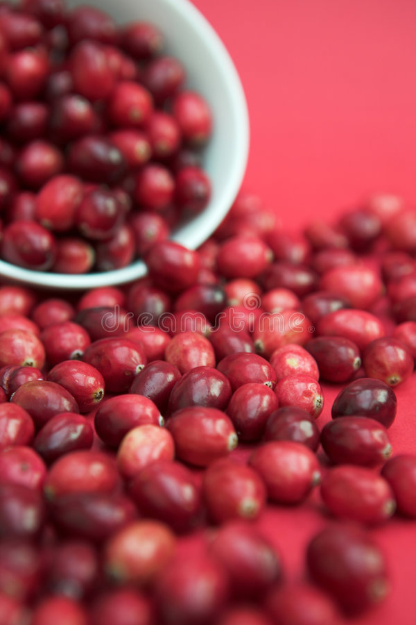 Cranberries spilling out stock photos