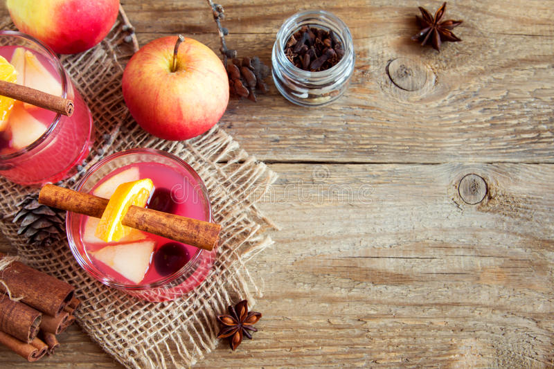 Cranberry and apple cider stock images