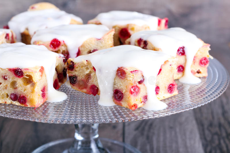 Cranberry cake bars royalty free stock image