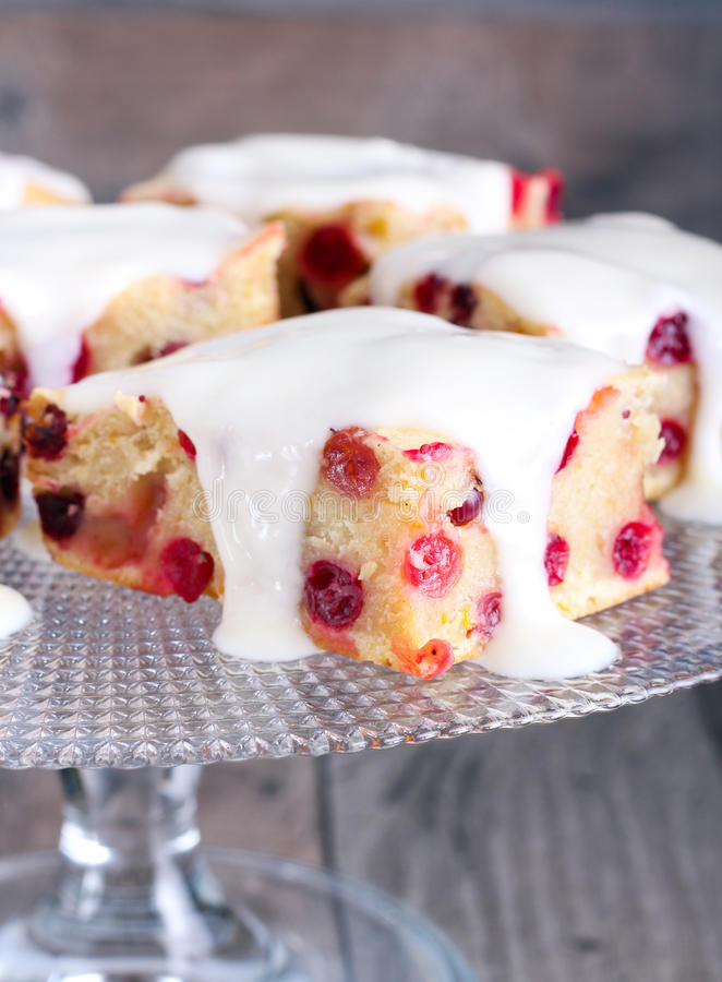 Cranberry cake bars royalty free stock images