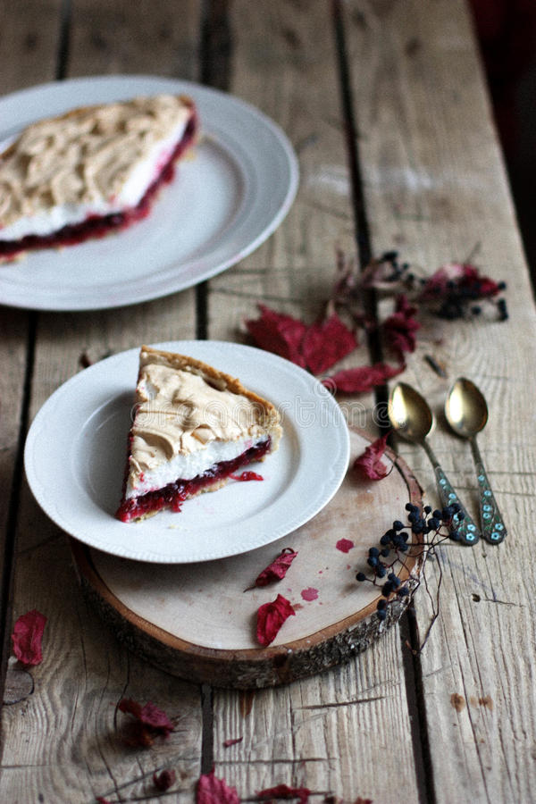 Cranberry cake with meringue royalty free stock image