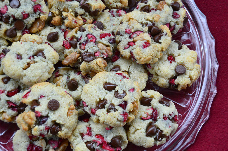 Cranberry Chocolate Chip Cookies. Sugar Free, gluten free, low carb, cranberry chocolate chip cookies royalty free stock photography