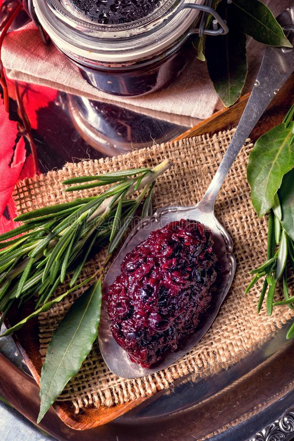 Cranberry chutney with red beet stock images