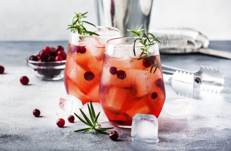 Cranberry cocktail-kodare med is, rosmarin och bär, stångverktyg, blå streckbakgrund, ovanifrån royaltyfria bilder