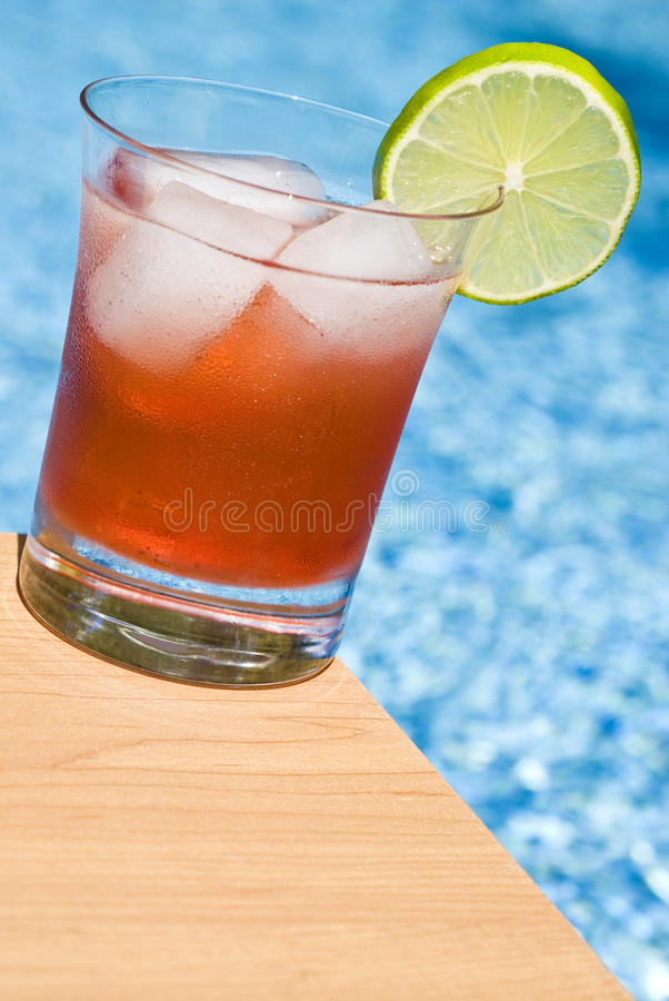 Cranberry Cocktail By The Pool Stock Photography