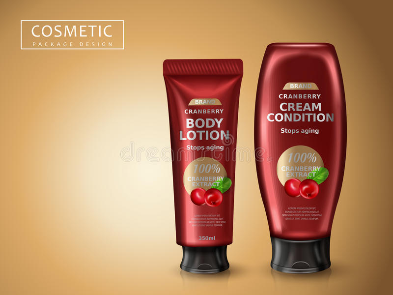 Cranberry cosmetic products. Package design, 3d illustration stock illustration