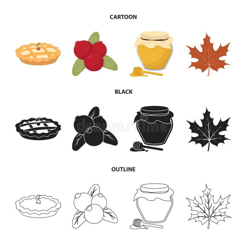 Cranberry, dyniowy kulebiak, miodowy garnek, liść klonowy Kanada dziękczynienia dnia ustalone inkasowe ikony w kreskówce, czerń,  ilustracji