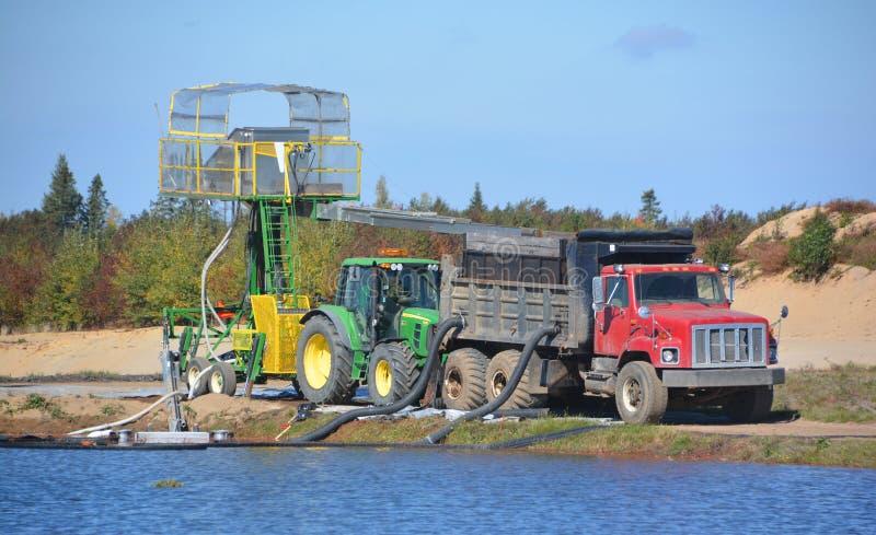 Cranberry farm water management harvesting. Saint-Louis-de-Blandford Quebec Canada 10 06 16: Cranberry farm water management harvesting in Saint-Louis-de stock photo