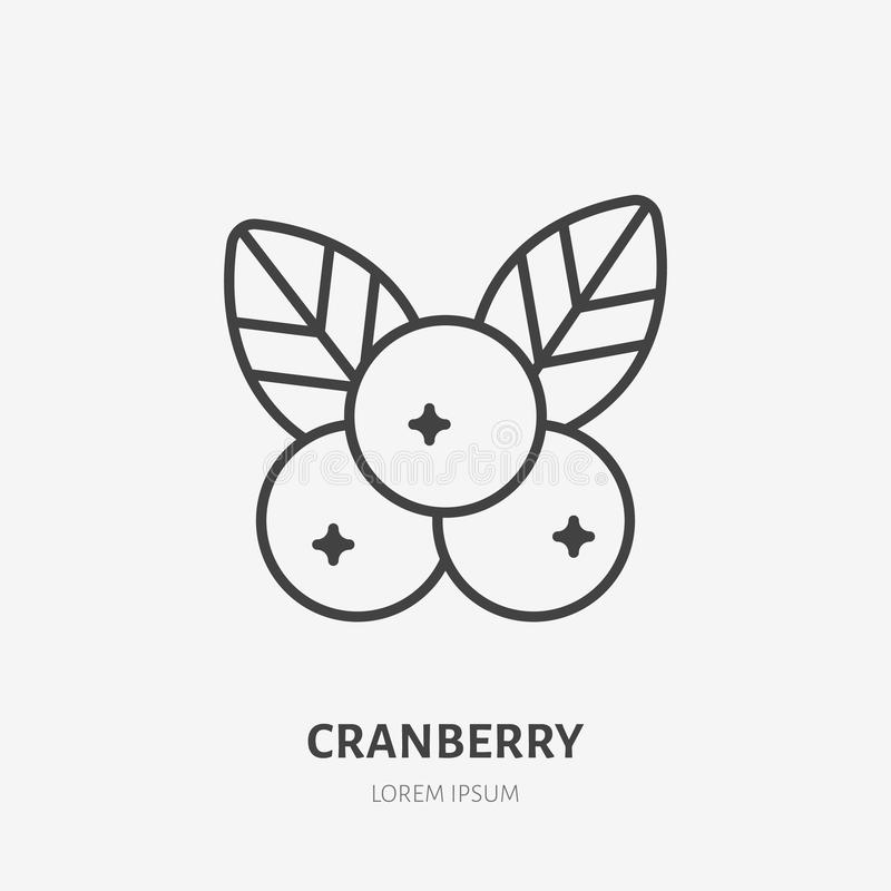 Cranberry flat line icon, forest berry sign, healthy food logo. Illustration of cowberry, lingonberry for natiral food. Store royalty free illustration