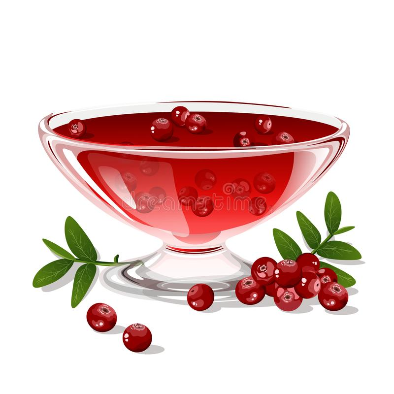 Cranberry jelly isolated on white background. vector illustration
