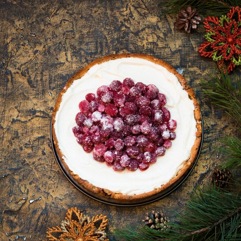 Free Cranberry Meringue With Cream Cheese For The New Year`s Table Royalty Free Stock Photography - 131642057