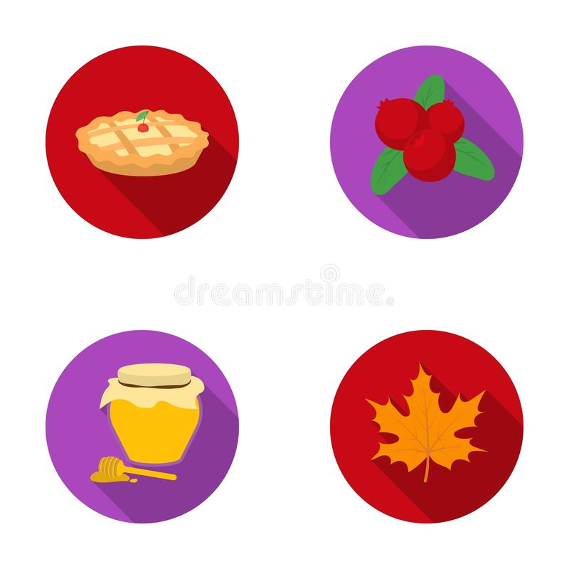 Cranberry, pumpkin pie, honey pot, maple leaf.Canada thanksgiving day set collection icons in flat style vector symbol royalty free illustration