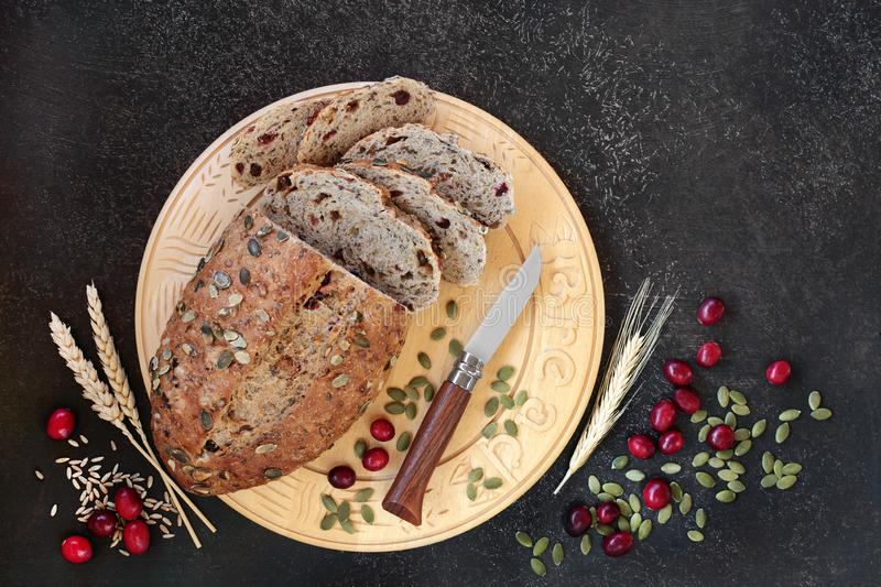 Cranberry and Pumpkin Seed Rye Bread royalty free stock photography