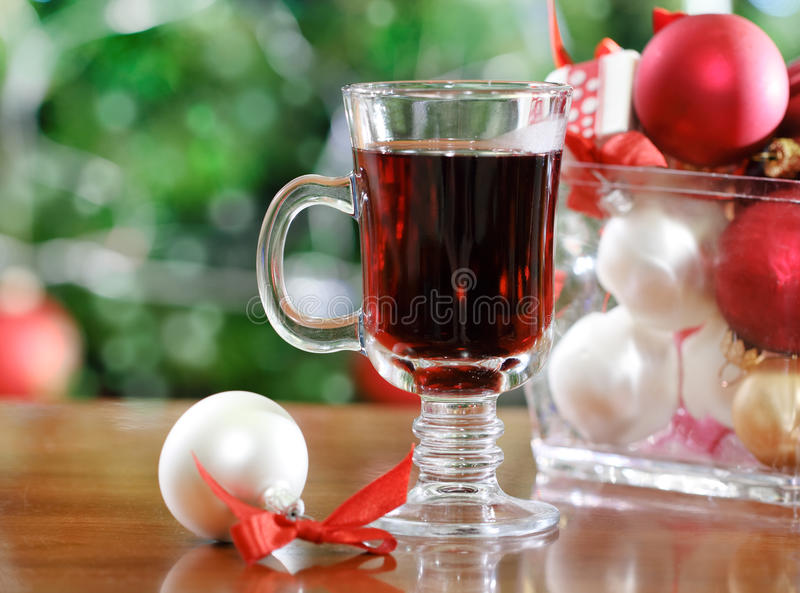 Cranberry punch or red hot wine stock photos