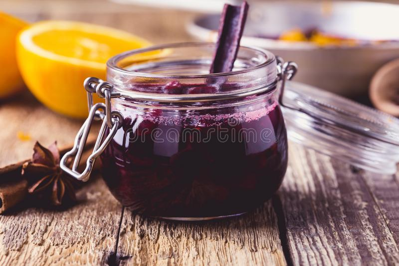 Cranberry sauce prepared in rural pan. Ready to eat, rustic style royalty free stock photography