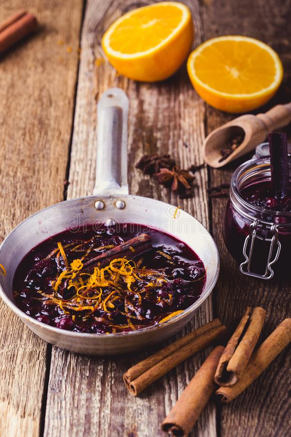 Cranberry sauce prepared in rural pan. Ready to eat, rustic style stock photos