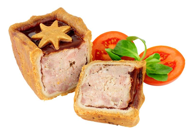 Cranberry Sauce Topped Decorated Pork Pie royalty free stock images