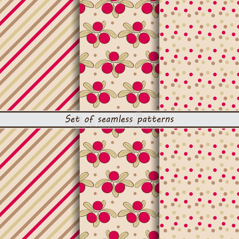 Cranberry, a set of seamless patterns vector illustration