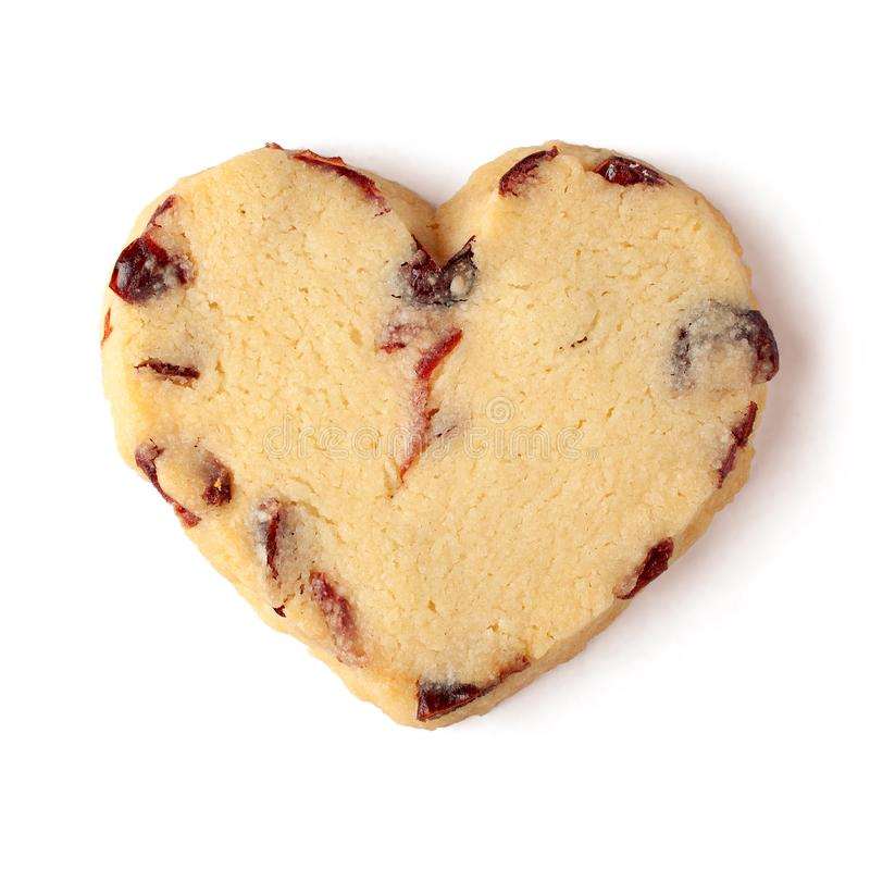 Cranberry shortbread hearts cookie isolated on white background royalty free stock photography