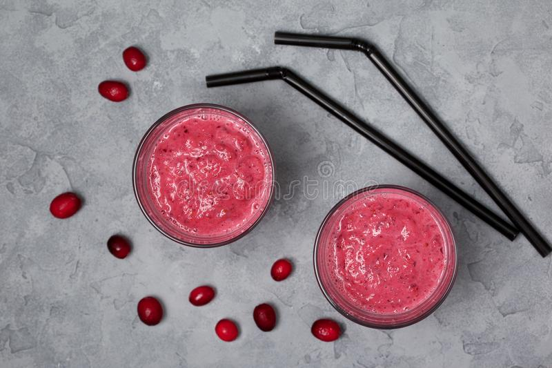 Cranberry smoothies stock photo