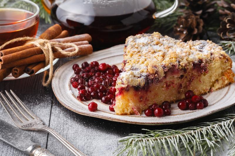 Cranberry Tart. Delicious cranberry tart with jellied and fresh cranberries for Christmas royalty free stock photo