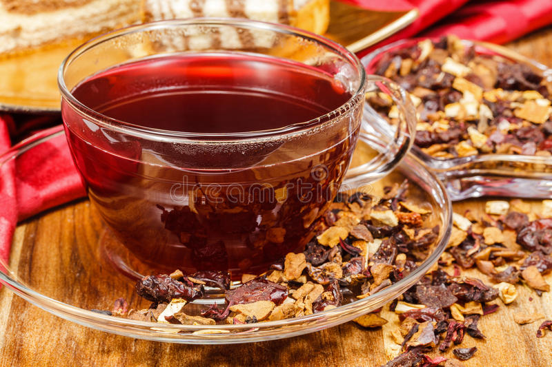 Cranberry tea. Is widely recognized as containing powerful anti-oxidant properties. Considered a superfood, cranberries, and the tea derived from them, have an royalty free stock photos