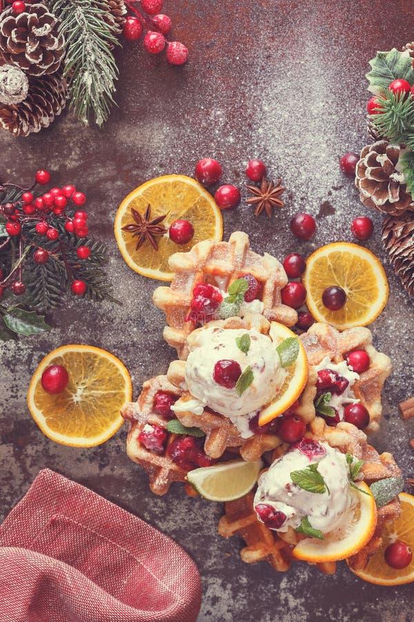 Cranberry waffles with orange ice cream stock photography
