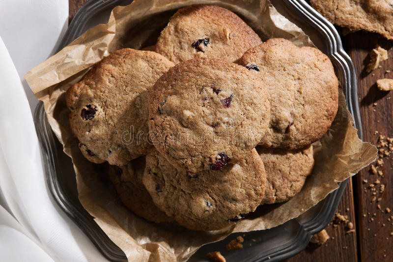 Cranberry walnut cookies stock photo