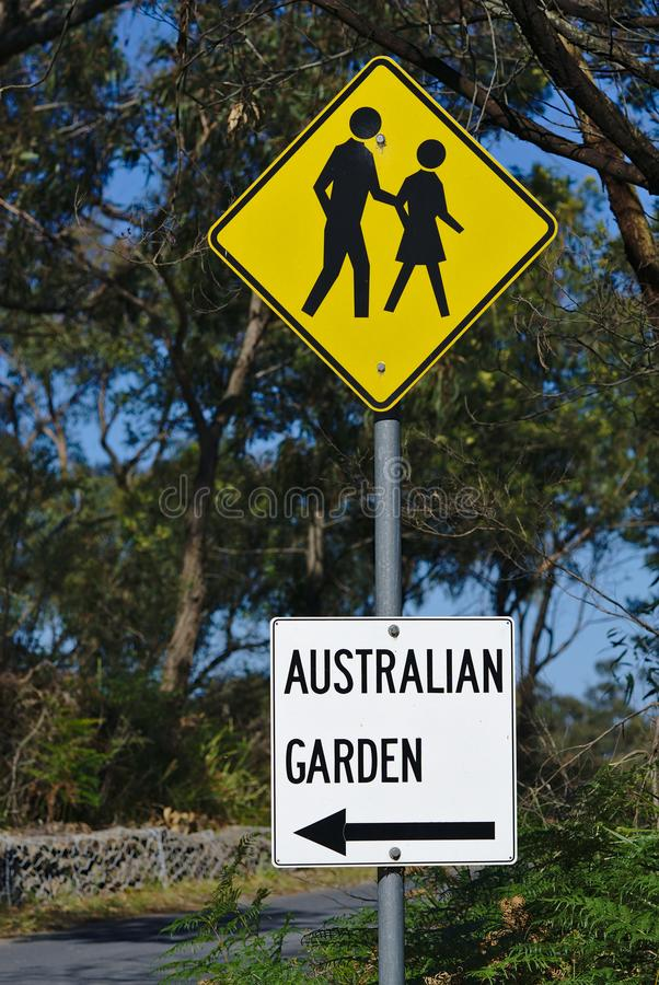 Australian Garden sign direction underneath crossing sign stock photography