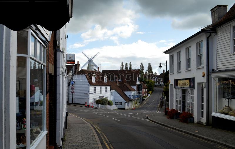 Cranbrook Kent UK windmill over HIgh Stree stock images