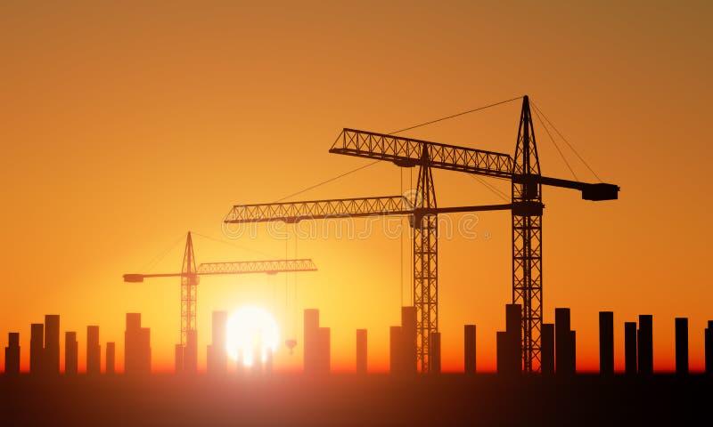 Download Crane stock illustration. Image of building, tower, sunrise - 24108992