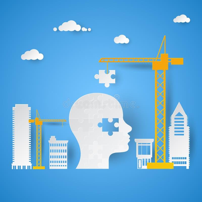Crane Adding Last Piece para confundir a cabeça Conceito creativo da idéia ilustração stock