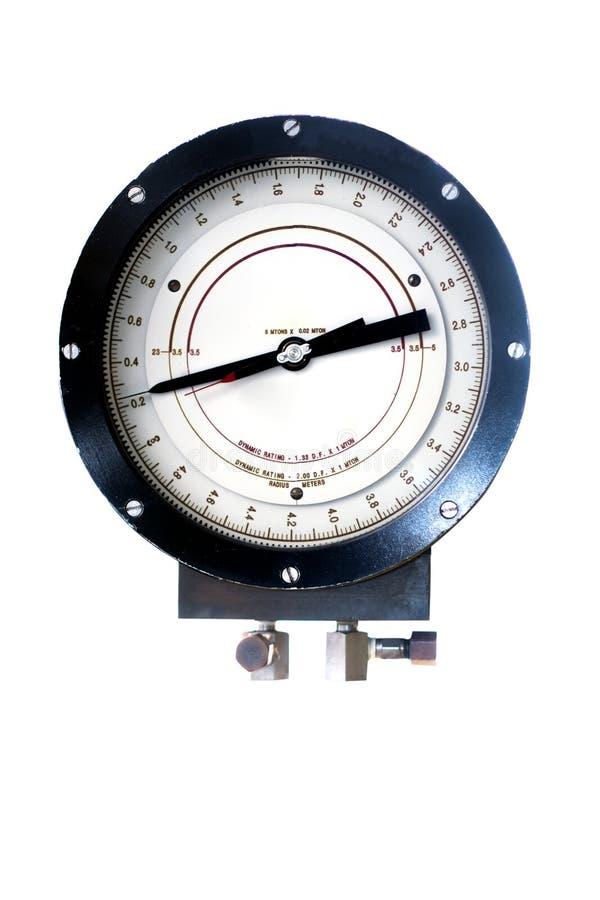 Crane analog dynamic rating pressure gauge royalty free stock images